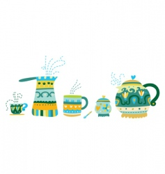 Set of tea accessories vector