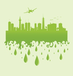 Plane above the city on a green vector