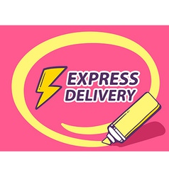 Marker drawing circle around express deli vector