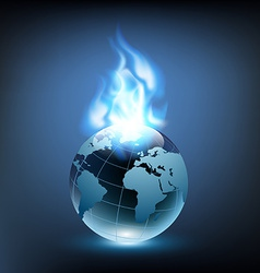 Blue flame and planet earth vector