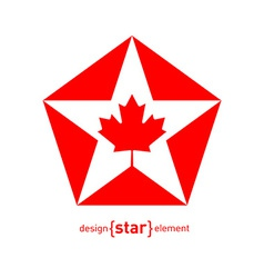 Star with canadian maple leaf on white background vector