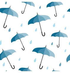 Seamless pattern with blue umbrellas vector image