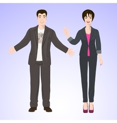 Smiling man and woman in office style wear vector