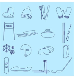Winter sports and equipment outline icons eps10 vector