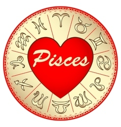 Zodiac sign pisces for lovers on valentine vector