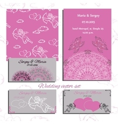 Wedding set of invitation and vector