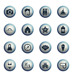 Beach simply icons vector