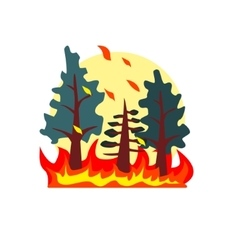 Blazing forest natural force sticker vector