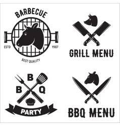 Bbq graphic flat emblems with grill forks spatulas vector