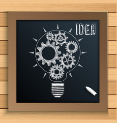 bulb mechanism with cogs and gears written by chal vector image