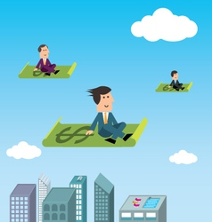 Business men flying vector