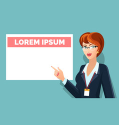 business woman pointing on message board vector image vector image