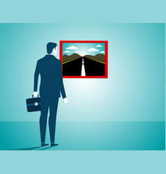 Businessman looking for a new road concept vector