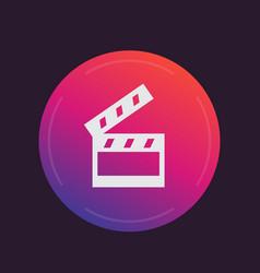 Clapperboard cinema movie icon vector