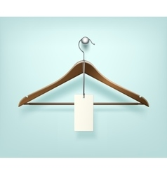 Clothes coat brown wooden hanger with sale label vector
