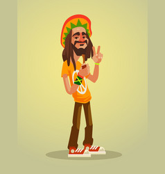 Cute happy rastafarian man character vector