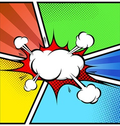 Explosion cloud abstract comic book style frame vector image
