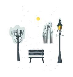 Flat streetlight bench tree bush icon vector