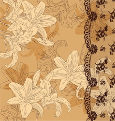 floral background with lace vector image