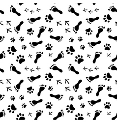 Footprints of human cat dog birds black and vector