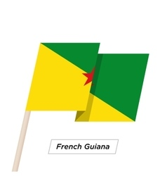 French guiana ribbon waving flag isolated on white vector