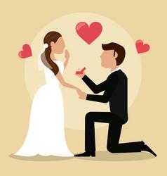 groom giving ring bride lovely vector image