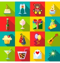 Happy Birthday icons set flat style vector image
