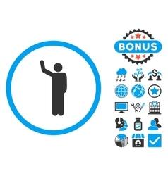 Hello flat icon with bonus vector