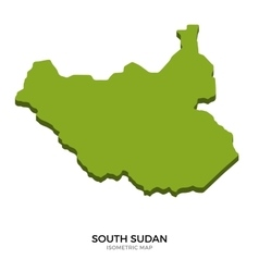 Isometric map of south sudan detailed vector