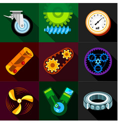 Machinery gear icons set flat style vector