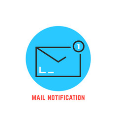 mail notification in blue circle vector image