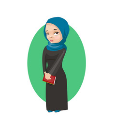 muslim girl holding book education concept card vector image
