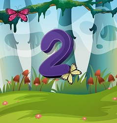 Number two with 2 butterflies in garden vector image vector image