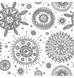 Ornate circles boho style seamless pattern vector