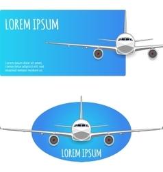 Passenger plane on white - blue background vector image vector image