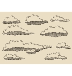 Retro clouds hand drawn sketch vector image