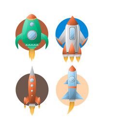 Rockets colorful set of four against circles on vector
