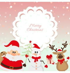 Santa Claus reindeer snowman on pink background vector image vector image