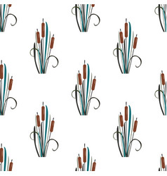 seamless pattern with bushes of reed on white vector image