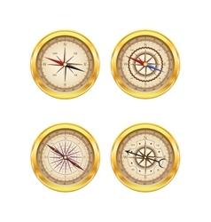 Set of golden compasses vector image vector image