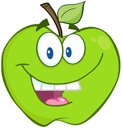 Smiling Green Apple Cartoon Character vector image vector image