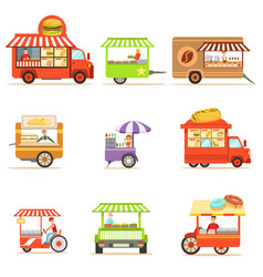 Street food kiosk collection on wheels and without vector
