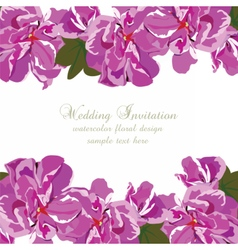Wedding invitation with summer colorful flowers vector
