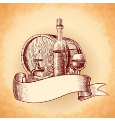 Wine hand drawn background vector