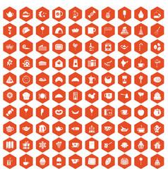 100 tea party icons hexagon orange vector image