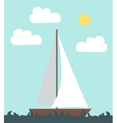 Boat floating on the waves vector