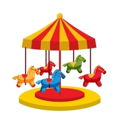 Carousel with horses icon cartoon style vector