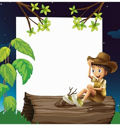 A boy sitting on a trunk vector image