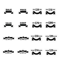 Price and ribbon set vector
