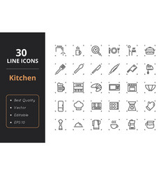 30 kitchen line icons vector image vector image